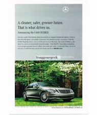 2010 Mercedes-Benz S400 Hybrid Palladium Silver 4-door Sedan Vtg Print Ad