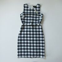 NWT J.Crew Belted Gingham Sheath in Navy Ivory Check Bi-stretch Cotton Dress 2