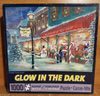 1000 Piece Puzzle, Candy Cane Lane Bits and Pieces Jigsaw, Glow in The Dark