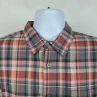 John Varvatos USA Gray Orange Plaid Check Mens Dress Button Shirt Size Large L