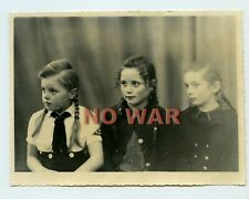 Wwii Original German Photo Small Girl From Bdm In Uniform W Triangle Arm Patch