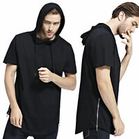 New Fashion Cool Men's Hip-hop Hoodies Zipper Casual Short Sleeve T-Shirts Tops