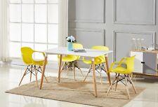4 x Alecia Tub Eiffel Armchair and White Dining Table Set Cafe Restaurant Salon