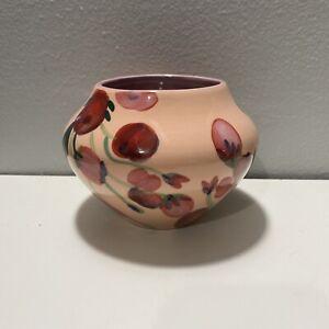 """ANTHROPOLOGIE Ceramic Vase Red Tulip Floral 4.5"""""""