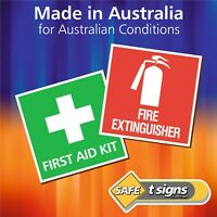 First Aid Kit + Fire Extinguisher - Sticker Set 75 x 75mm - Self Adhesive Decals