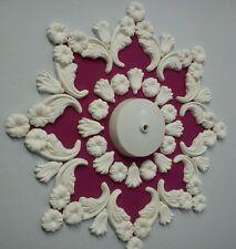 """Ceiling rose/design, plaster, home decor, handmade, 14"""" diameter."""