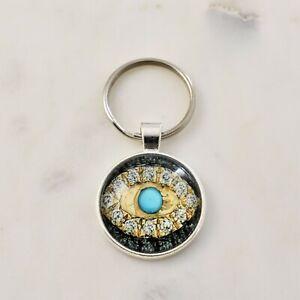 Evil Eye Key Ring Mati Nazar Glass Cabochon Key Ring Keyring Lucky Keychain