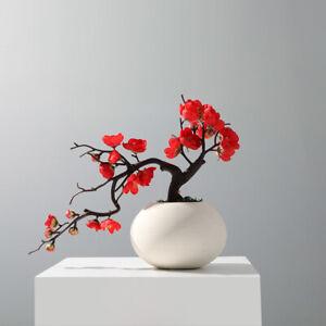 Short Red Plum Blossom Branch Artificial Flowers Decoration Silk Fake Flower