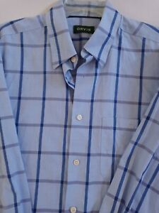 New No Tags Orvis Mens Blue Plaid Button Down 100% Cotton Shirt~Size Large