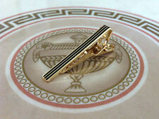 Mens Boys 4CM Skinny Tie Bar Gold Black Stripe Stainless Steel Clip Clasp Pin