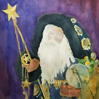 Vintage Santa Claus Wizard Christmas Purple Painting Wall Art Watercolor