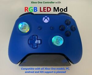 Blue Xbox One Controller w RGB LED Mod