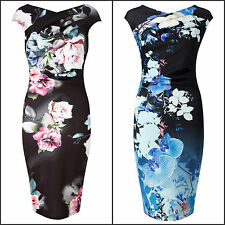 Women's New Formal Elegant Floral Knee Length Round Neck Cap Sleeves Party Dress