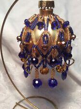 Christmas Ornament, Handmade Beaded Cover, Blue/gold, On Glass Ball