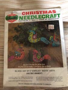 Vintage Bucilla Jeweled Holiday Felt Ornaments EXOTIC BIRDS MCM KIT 8023 sealed