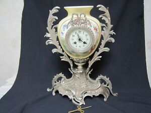 ANTIQUE FRENCH LOUIS XV1 8 DAY STRIKE PORCELAIN & SILVER ORMOLU VASE CLOCK