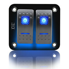 12V 24V 2 Gang Dual LED Blue Light Rocker Switch Panel Bar Car Caravan Boat Rv