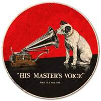 """RCA VICTOR PLAYER NIPPER THE DOG HEAVY DUTY USA MADE 14"""" ROUND METAL ADV SIGN"""