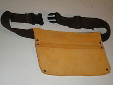 Tan leather nail bag with 2 pockets nylon web belt and fastex belt buckle