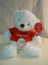 Hallmark Hug Me Bear plush Nwt White Bear with Red Shirt Sound Great Gift