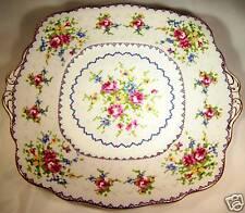 "ROYAL ALBERT BONE CHINA PETIT POINT 9-1/4"" DIAMETER TAB-HANDLED  CAKE PLATE"