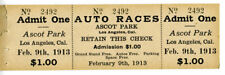 Rare 1913 Full Auto Race Ticket Ascot Park Los Angeles