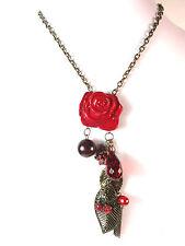 Señoras impresionante Multi Capa De Bronce Red Floral En Capas encanto collar (St59)