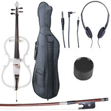 4/4 Electric Cello Full Size Ebony Style 1 ~Pearl White