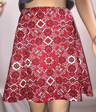 Wrapper Mini Skirt Size 13 Red And White Floral Print Pleated Sexy Western Style