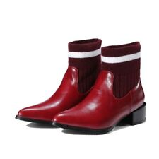 Modische Damenschuhe Stiefeletten Blockabsatz gestrickt Spitz Ankle Boots Gr.47