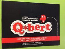 Q*Bert Atari 2600 MANUAL ONLY NO GAME Gottlieb Arcade Parker Brothers Rare