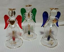 2002 Avon Angelic Glass Bells - Set Of Three - Blue Red Green Joy Love Peace Nib