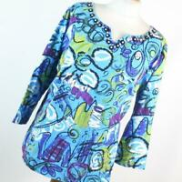 Hearts of Palm Womens Size XL Blue Multi Coloured Cotton Graphic Tee