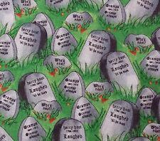 "1 yd 19"" Spooky Eve Quilting Treasures Halloween Tombstone Gravestone"