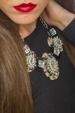 Statement Necklace Crystal Daisy And Tortouise Shell Necklace Pendant Fashion
