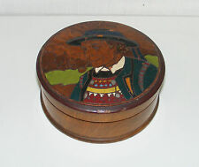 B1573/ ANCIENNE BOITE RONDE BOIS PYROGRAVE PORTRAIT BRETON ART POPULAIRE - TABAC