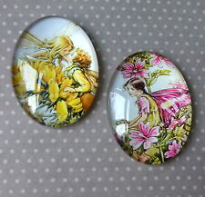 4 pcs  25x18mm Domed Oval Cabochons Character cabochon Fairy cabochon