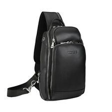 Men USB Genuine  Leather Sling Bag Sport Pouch Chest Pack One Strap Backpack