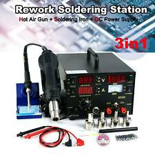 853D Rework Soldering Station SMD Hot Air Iron Gun DC Power Supply 6 Gifts new