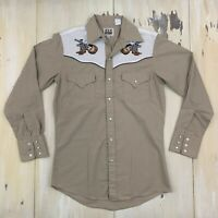 ELY CATTLEMAN - Khaki Embroidered Boots Hat Western Cowboy L/S Shirt, Mens SMALL