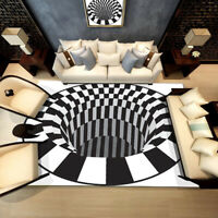 3D Bottomless Hole Shaggy Carpet Anti-Skid Rug Home Living Room Floor Mat RS CR