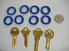 LOT OF EIGHT BLUE LARGE KEY IDENTIFIER RINGS IDENTIFICATION FOR KEYS