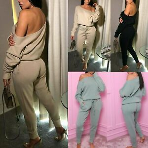 Womens Knitted Off The Shoulder Tracksuit Ladies Top Bottom 2Pcs Loungewear Set