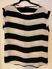 Women's Black And White Stripes Blouse Medium