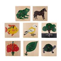 Baby Educational Montessori Wooden Jigsaw Puzzle Peg Board Set Kids Toy Play Fun