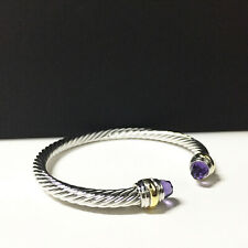 David Yurman 5mm Amethyst Cable Bracelet with (585)14K gold Sterling Silver