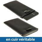 Noir Étui Housse Pochette cuir Véritable pourSony Xperia Z Android Smartphone