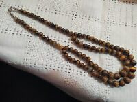 VTG Double Strand Necklace Graduated Tigers Cats Eye Beads Sterling Silver Clasp