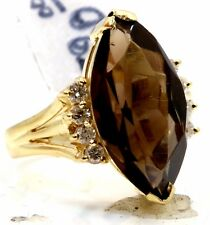 Solid 14k Yellow Gold Smokey Topaz and Diamond Cocktail Right Hand Ring