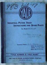 VINTAGE 1953 YALE ELECTRIC FORKLIFT MODEL K51-AT-100 SERVICE & PARTS MANUAL